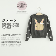 Direct manufacturers in the autumn of 2016 the new children's wear girls rabbit round neck sweaters