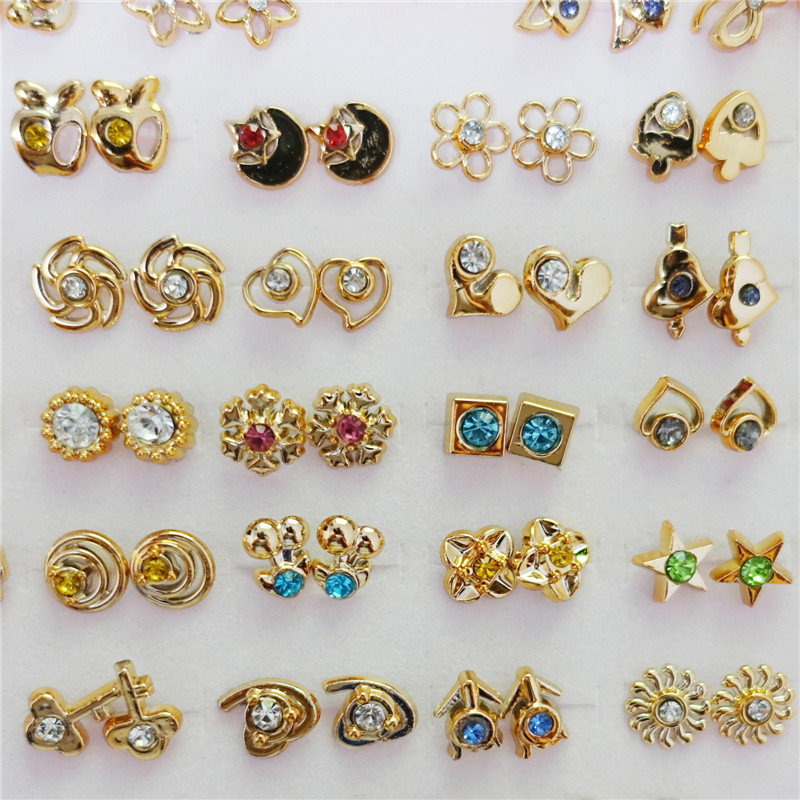 36Pairs/lot Heart Box Mix Designs Randomly Small Gold & Silver ...