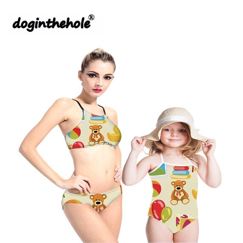 Doginthehole offre spéciale Parent-enfant préscolaire enseignant maillot de bain bikini famille été plage mignon maillot de bain deux pièces maillot de bain 2019