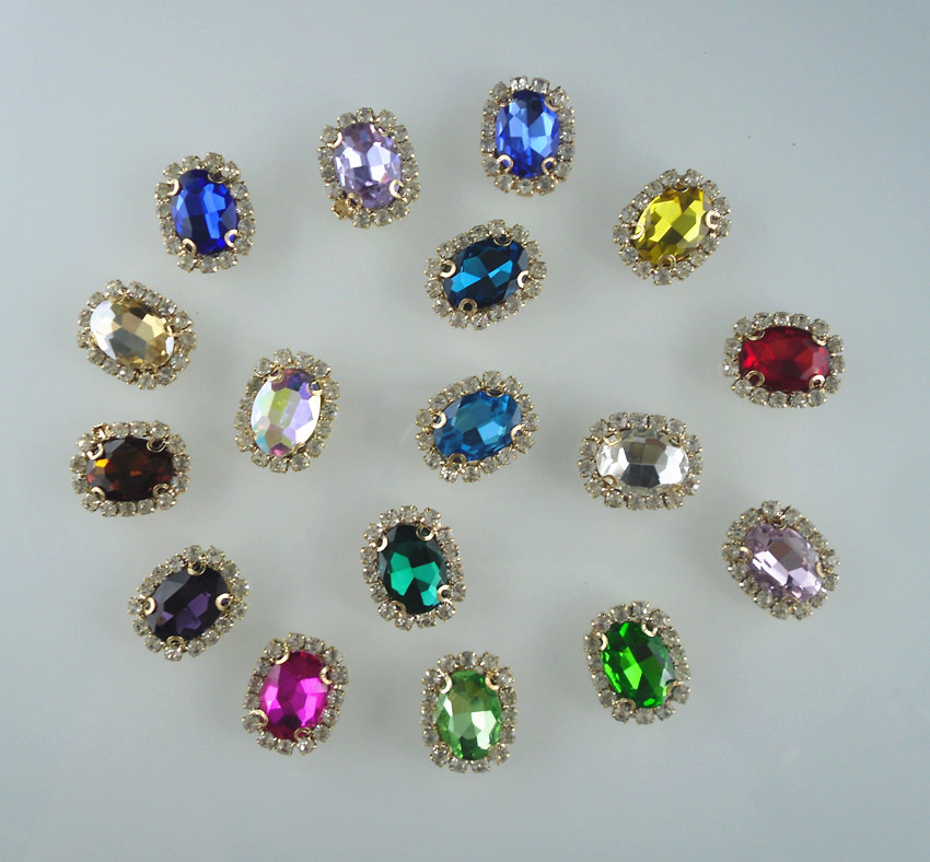 Aliexpress Com Buy 1440pcs Gold Bottom Crystal Clear: Bottom Hole Oval Faceted 10x14mm Glass Crystal Around