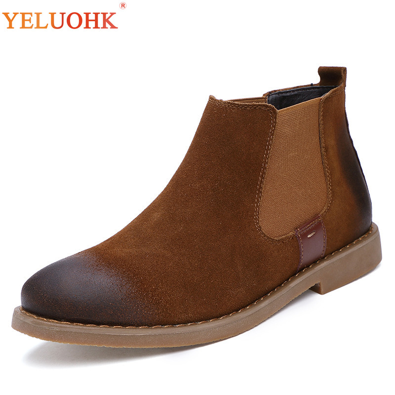 Men Winter Boots Plush Warm Chelsea Boots Men High Quality Winter Shoes Men Brown Black
