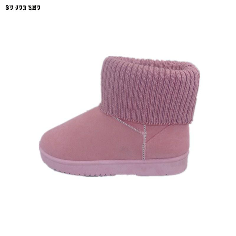 Hot Sale Women Boots Solid Soft Cute Women Snow Boots Round Toe Flat Black Pink Winter Shoes Knitting Boot 2016 New Arrival 2017 new arrival hot sale women boots solid bowtie slip on soft cute women snow boots round toe flat with winter shoes wsz31