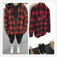 HZIJUE Autumn Winter Thick Flannel Long Sleeve Plaid Shirt Men And Women Circarc Oversize Sweep Plaid