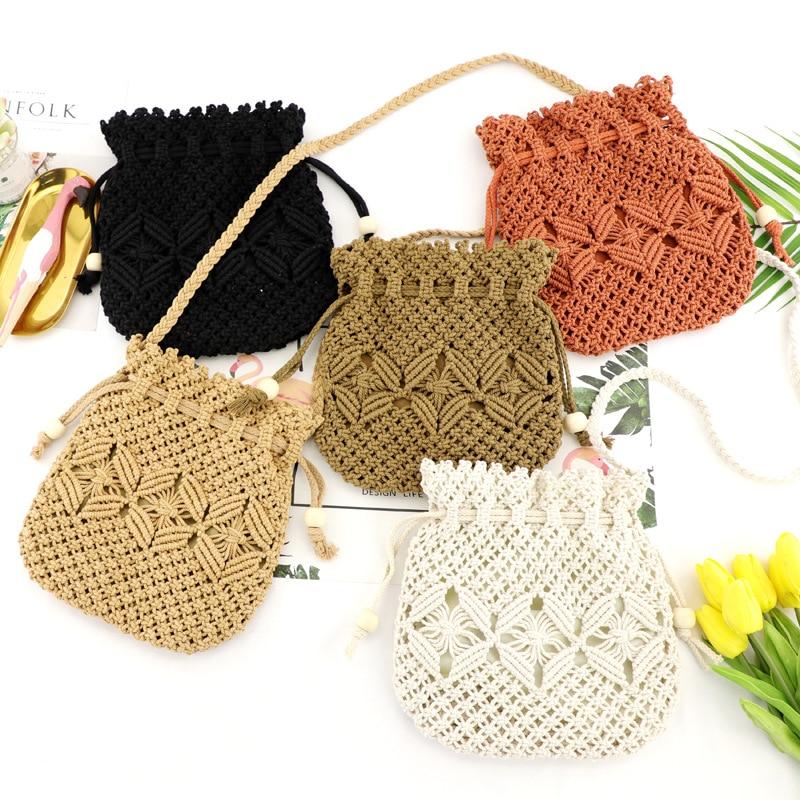 Weaving Bucket Bag Mini Crossbody Bag Drawstring Handbags Vacation Leisure Beach Bag Straw Handbags