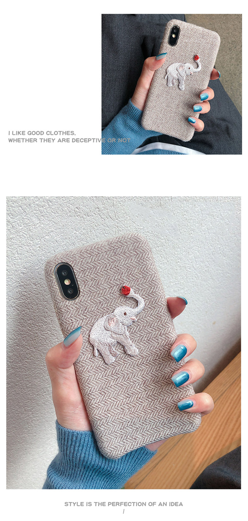 Cute Embroidered Elephant Phone Case For iPhone - Photo 4