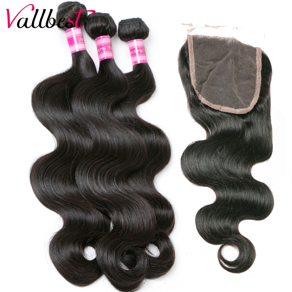 Vallbest Free Middle Brazilian Hair Weave Human Hair Bundles With Closure Body Wave 3 Bundles With Closure Non Remy Hair
