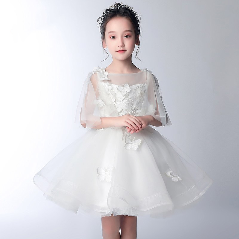 White Flower Girl Dresses Ball Gown Princess Dress Butterfly Kids Pageant Dress for Birthday Party Backless Girls Formal Gowns erapinky girl dress kids girls backless dress bow lace ball gown party dresses easter dress for girls 8year old child clothes