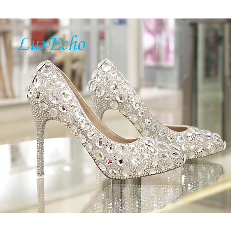 Womens Fashion Wedding Shoes Bride Marriage Diamonds Party Dress