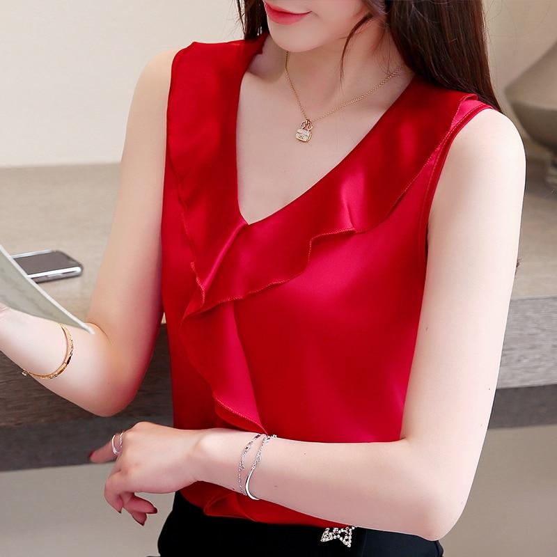 Dingaozlz New fashion Women clothing Solid color Camis shirt Sleeveless Tank Tops Casual Ruffles Plus size Women Silk shirt 3XL in Tank Tops from Women 39 s Clothing