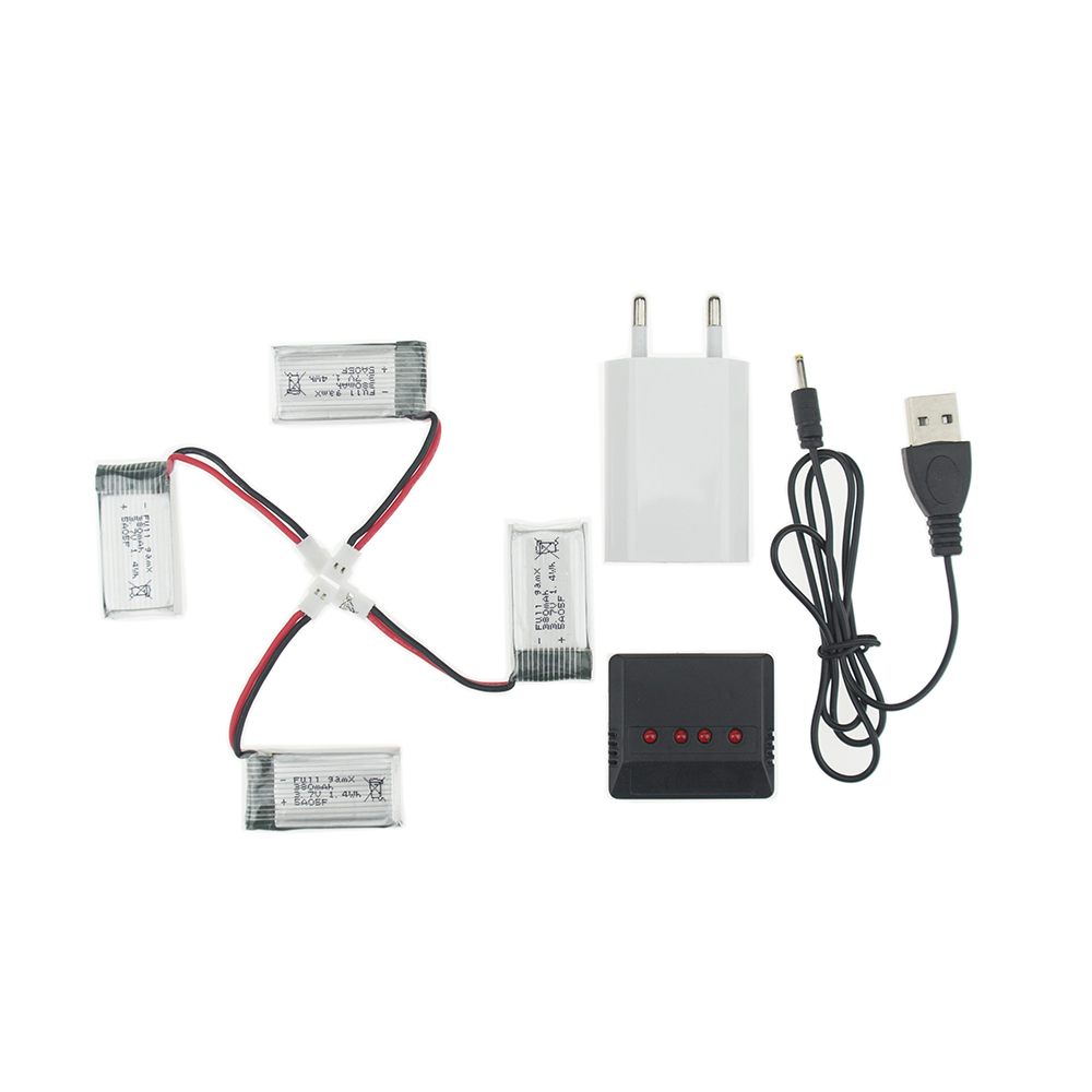 4 Pcs <font><b>3.7v</b></font> <font><b>380mah</b></font> <font><b>Lipo</b></font> <font><b>Battery</b></font> With X4 Charger Eu Plug For Jjrc H6c Hubsan H107 Dm003 Rc Helicopters Drone Control Toys image