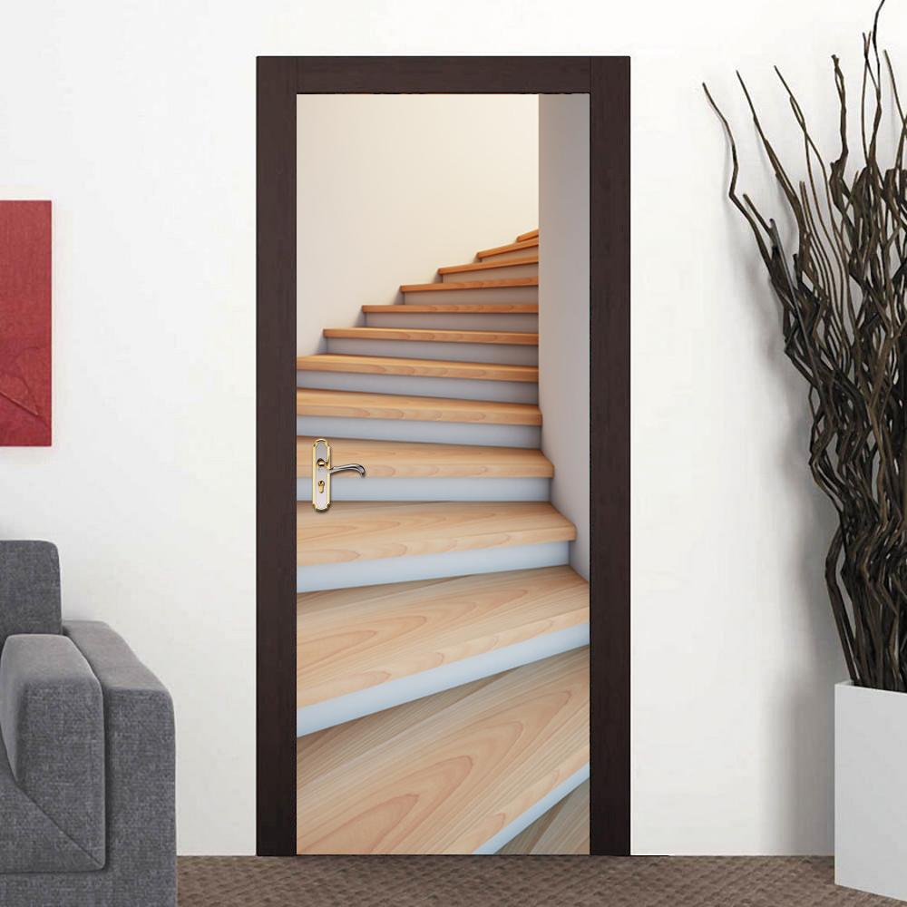 hogar creativo diy d puerta pegatinas d patrn de escalera para nios sala de puerta accesorios de decoracin del hogar etique