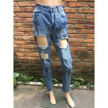 Mode Trou Femmes Jeans 2018 Nouvelles Femmes Déchiré Jean Détruit Affligé  Fit Skinny Taille Haute Dames Crayon Pantalon Cheville. f38d364440d9
