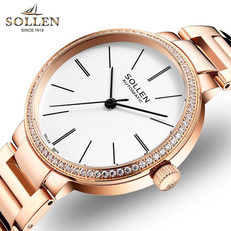SOLLEN Automatic mechanical watch women Rose Gold watch Top Luxury Watch Ladies Wristwatch Fashion casual Relogios Femininos hvenshi automatic mechanical watch women rose gold watch top luxury watch ladies wristwatch fashion casual watches