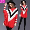 Nuevo 2016 de La Moda de Primavera suéter de Las Mujeres de alta calidad geométrica mujeres suéter flojo camisa de murciélago sexy impresión de Punto de Tocar Fondo