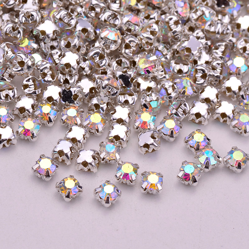 JUNAO ss12 Clear Crystal AB Sewing Claw Rhinestones Strass Applique Flatback  Glass Stones Sew On Crystals Bead for Wedding Dress-in Rhinestones from  Home ... f3a0aa800d92