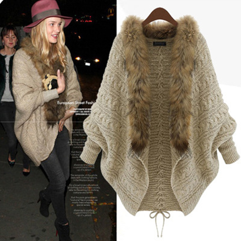 Autumn Winter Women Big Fur Collar Batwing Sleeve Loose Knitted Cape Cardigan Jacket Coat Cloak Sweater Shawl Cardigan