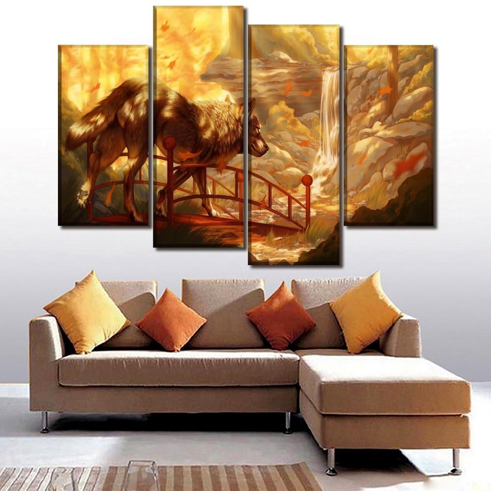 1 Piece/4Pcs Canvas HD Print Picture Home Decor Living