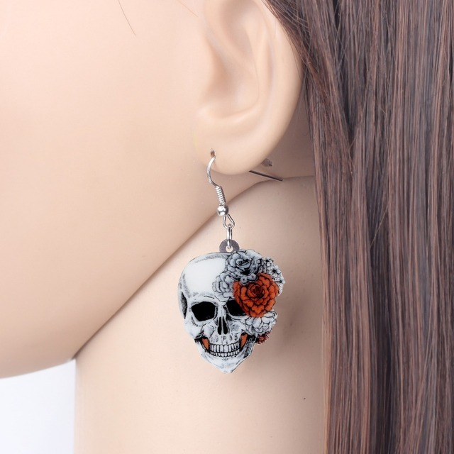 Bonsny Statement Acrylic Halloween Rose Flower Skull Earrings Necklace Chain Jewelry Sets Retro Costumes Decoration For Women 4