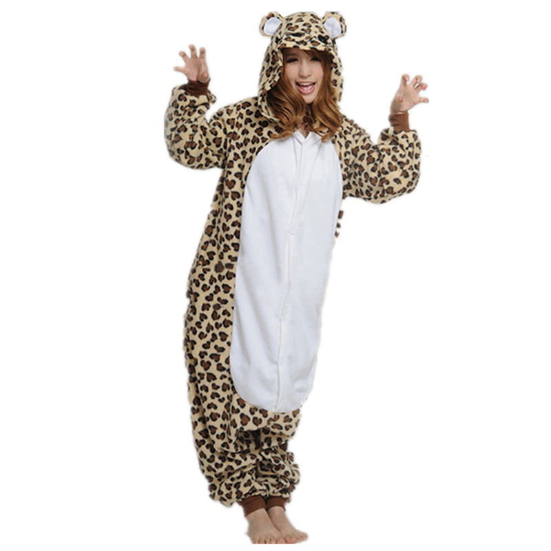 doubchow adults womens mens brown leopard costume pajama jumpsuit halloween cosplay onesies unisex teenagers cartoon lounge wear