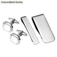 Personalized Master Free Engraving Custom 4pcs Stainless Steel Tie Bar Cufflinks Set Tie Clip Business Money Clip for Mens Gift
