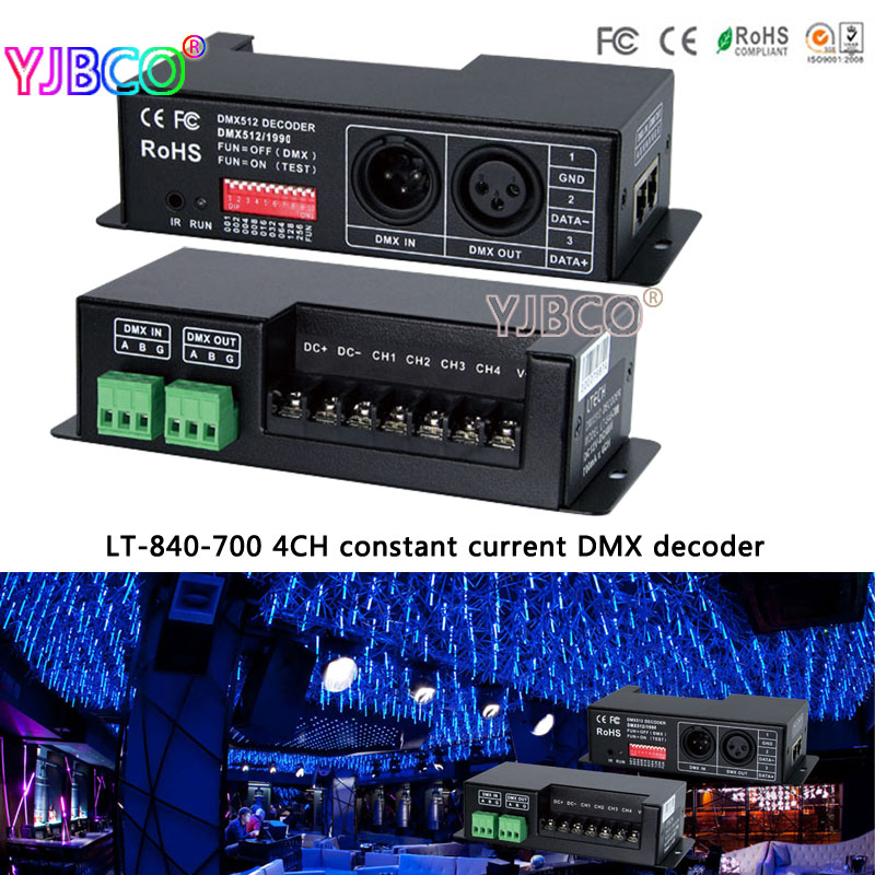 LT-840-700 DMX-PWM 4CH constant current decoder;DC12V-DC48V input;700mA CC*4CH led controller for rgbw led strip light lamp led constant voltage dmx pwm decoder dimmer lt 820 5a 8 16 bits optional oled display 4channel 5a 4channel max 20a output