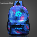 Iron Man Luminous backpack Printing Backpack Glow Bags for Teenager Girls mochila feminina Laptop Backpacks Female School bag