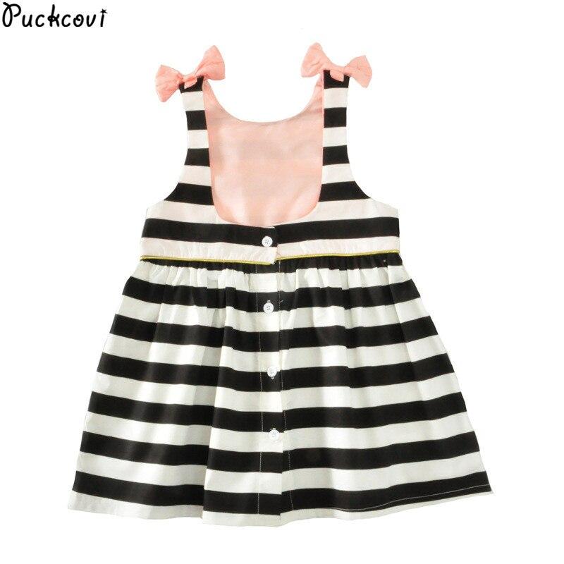Girls dress Vestidos Kids clothes Roupas infantis menina Girl backless dress Summer dresses Stripe onepiece Bowknot Age 6M to 3y
