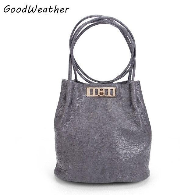 Новое прибытие дизайнер высокое качество PU кожаные сумки женщины ведро сумки мода серый мягкая поверхность дамы плечо сумки