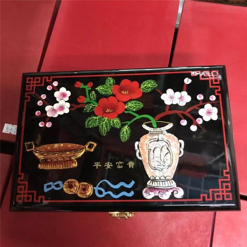 Ev ve Bahçe'ten Parti Armağanları'de En iyi hediye YENI Çin el yapımı klasik ahşap lake ve Çiçeklenme çiçekler 2 katmanlar Mücevher kutusu vazo ve çiçekler'da  Grup 2