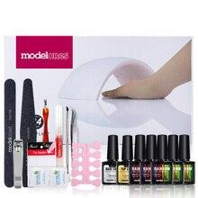 Modelones Nail Gel Soak-off Gel polish Top & Base Coat gel nails polish kit 24w 9C lamp 5 colors art tools kits sets manicure
