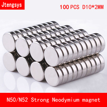 100pcs/lot 10x2mm fridge magnet strong Circular Disc Magnet 10*2 round N50 N52 Neodymium