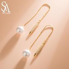 SA SILVERAGE Drop Women Jewelry S925 Gold Plated Long Eardrop Pearl Sterling Silver Earrings Feminine Tassel