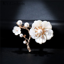 K's Gadgets Wedding Brooch Vintage Gold Color Pearl Pin Fashion Jewelry Rhinestone Natural Shell Flower Brooches For Women