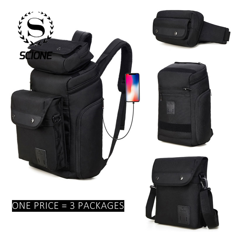Scione 3 Pcs/Set Men Multi function Detachable Backpack Waist Shoulder Bags Belt Casual Creative Combination For Travel Business