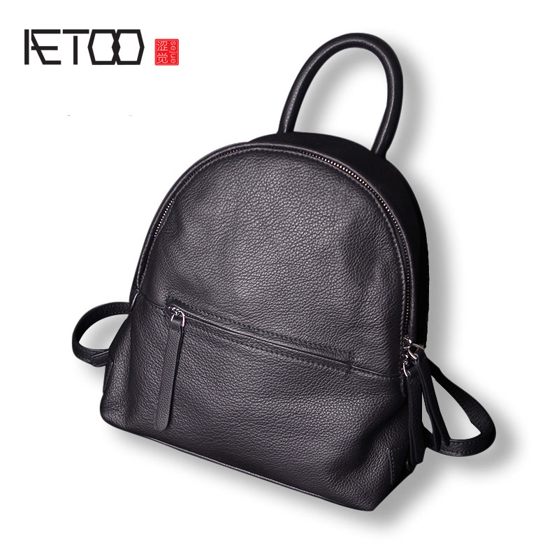 AETOO Leather backpack female shoulder bag head layer of leather simple leisure new Korean version of the individual cortex smal oxford bag korean version of the female students shoulder bag large capacity backpack canvas backpacks