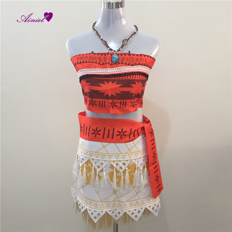 Ainiel Hot sale Adults and Kids Moana Cosplay Apparel