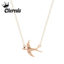 Chereda Hot Sale Dainty Swallow Necklace Gold/Silver Bird Dove Charm Necklace Cute Fiying Swallow Animal Necklace Halskette