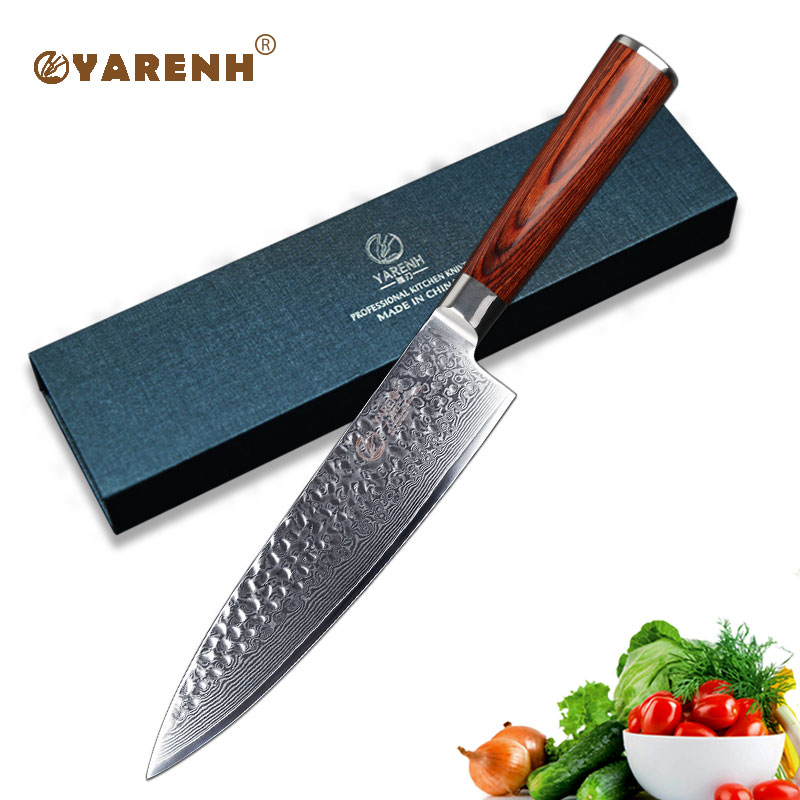 YARENH 8 inch Chef Knives High Carbon VG10 Japanese 67 layer Damascus Kitchen Knife Stainless Steel
