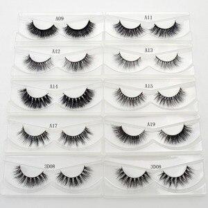 Image 4 - Free DHL 100 Pairs 3D Real Mink Eyelashes Wholesale HandMade Thick Natural Long False Eye Lashes Extension Makeup 33 Styles Lash