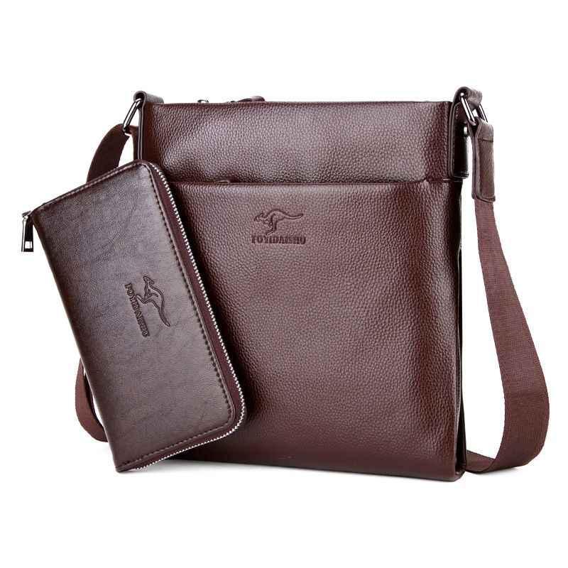 83a97156cea6 Брендовые новые мужские сумки-кенгуру из воловьей кожи, однотонные мужские  сумки из натуральной кожи