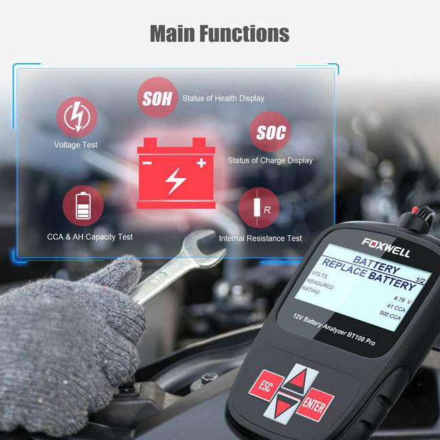 FOXWELL BT100 Pro 12V Car Battery Tester for Lead Acid Flooded AGM GEL 12 Volt Automotive Digital Battery Analyzer 100-1100CCA