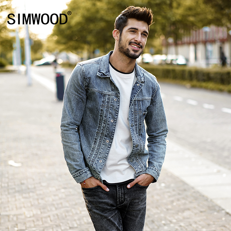 SIMWOOD 2018 Autumn Denim Jacket Men New Fashion Vintage Frayed Jeans Jackets Slim Fit Coats Outerwear Brand Clothing NK017002 italian style fashion men s jeans shorts high quality vintage retro designer classical short ripped jeans brand denim shorts men