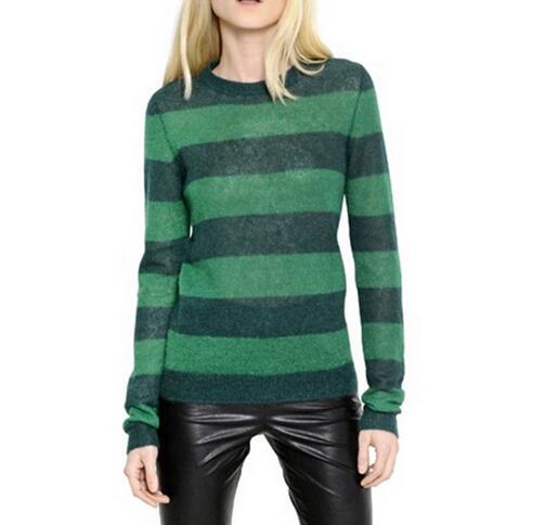 VogaIn 2016 Spring Women Fashion NEW Green Dark green striped ...
