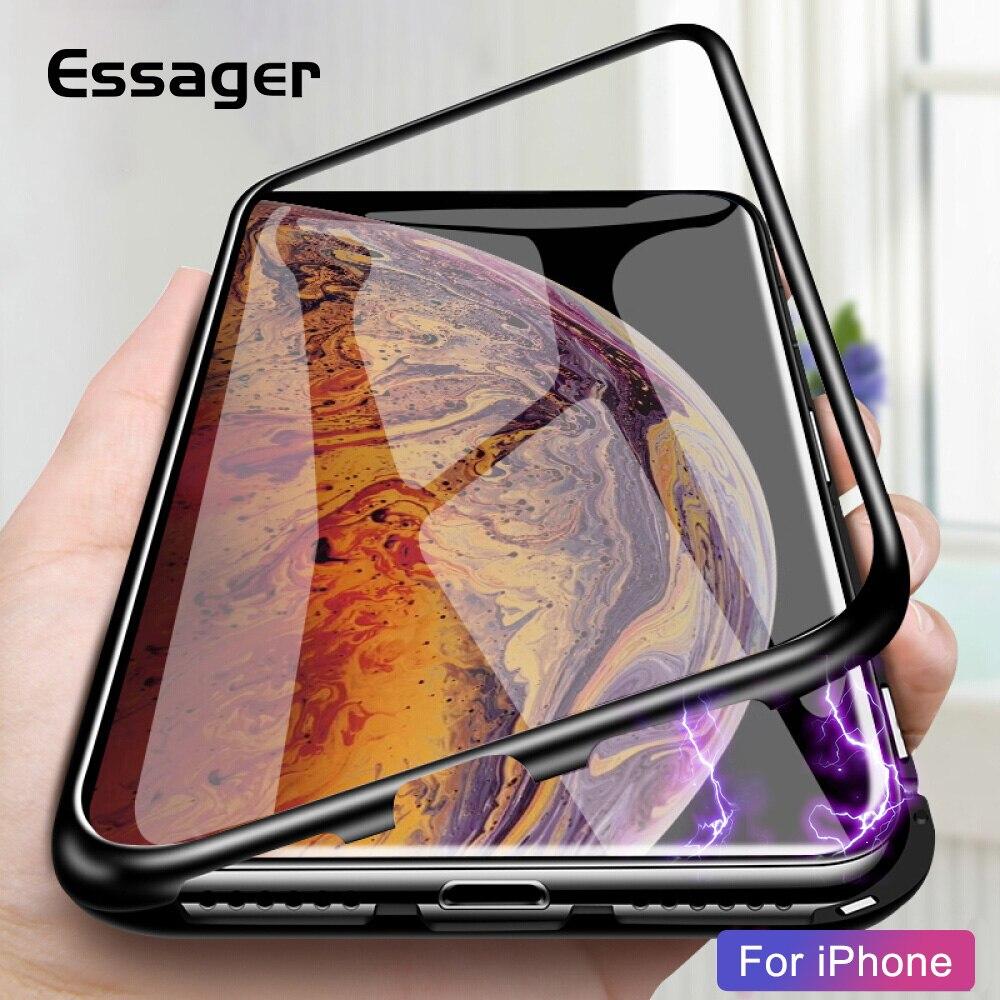 7ab3b92d5d2 Essager adsorción magnética para iPhone Xs Max X R S 8 7 6 S Plus de lujo  cubierta de vidrio de Metal coque para iPhone Xsmax Xr Carcasa en Casos  amueblada ...