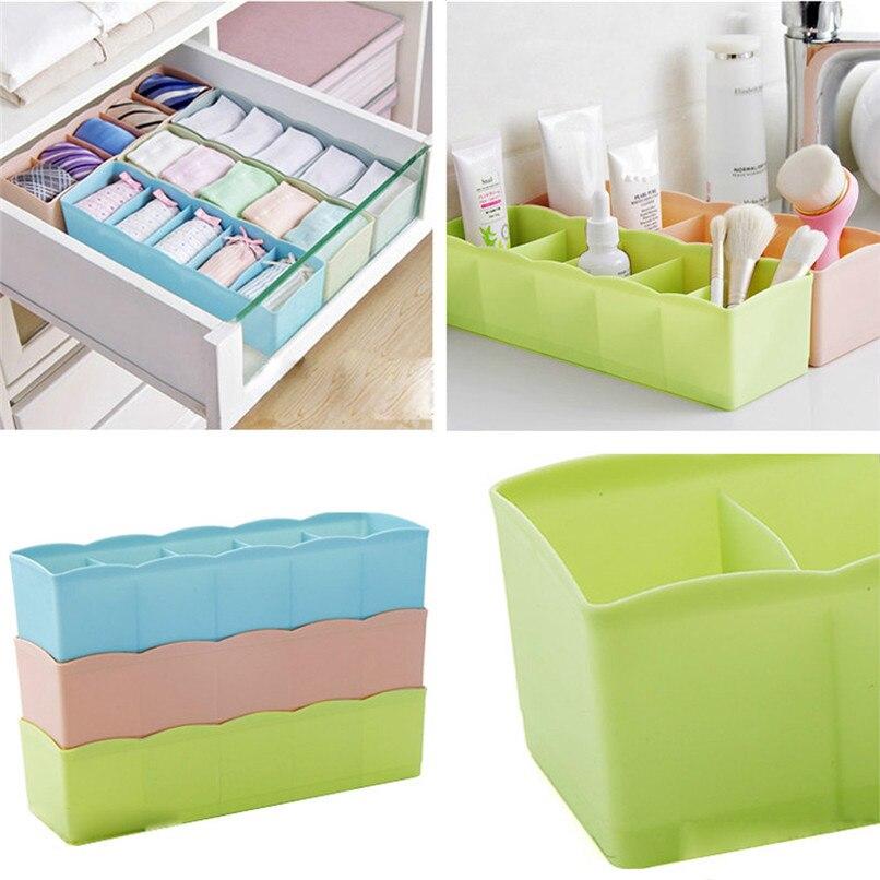 5 Grids Plastic Organizer Storage Boxes Separator Tie Bra Socks Drawer Cosmetic Divider Tidy Solid Color Storage Tool #5AU03 (5)