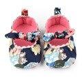 Bebé bonito Sapatos Rasos de Algodão Colorido de Impressão Primeiro Passo Elástico Vestido Da Menina Do Bebê Sapatos Casuais 0-12 meses