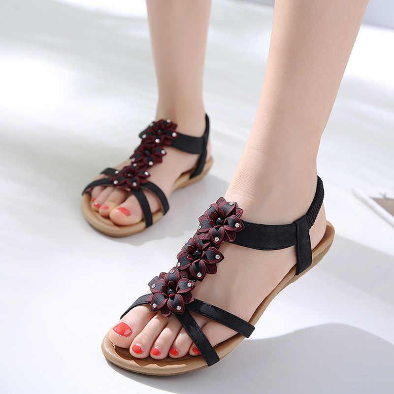 new women Bohemia Flat sandals shoes woman Flower Rhinestone Decoration  beach sandals Elastic band casual shoes 122b2c425849