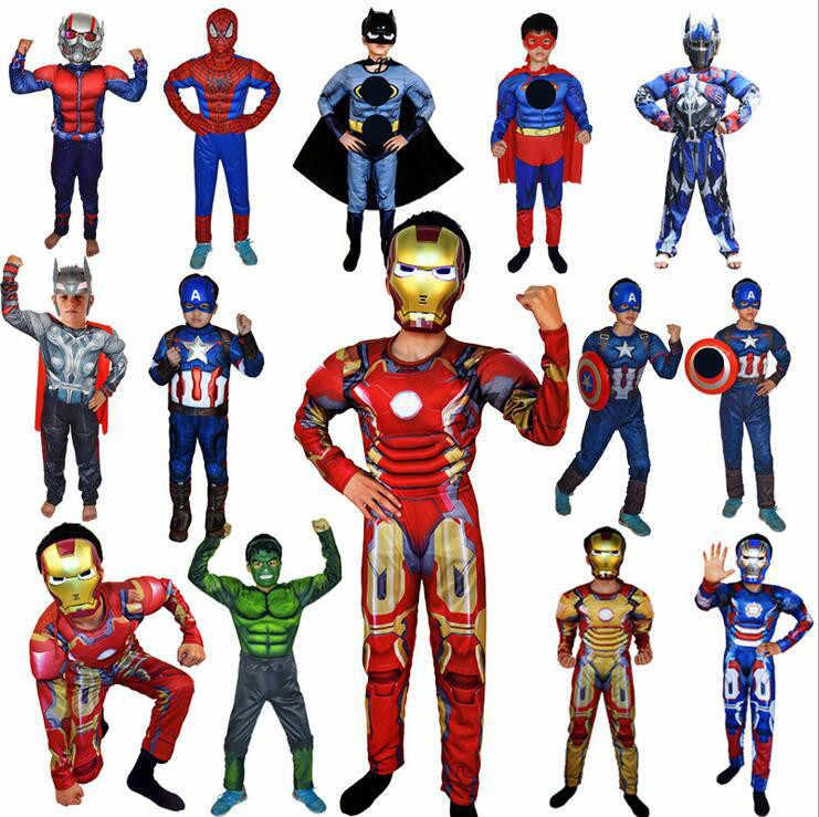 Super héroe niños músculo traje de Capitán América niño Cosplay Super héroe disfraces de Halloween para niños niño hulk vestido de lujo