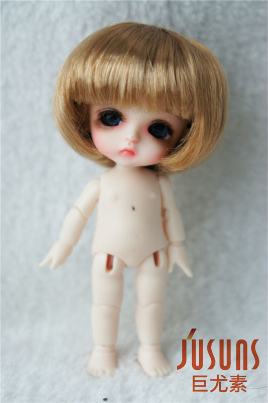JD256 Lati White bjd synthetic mohair doll wigs size 3-4 inch inch Short cut doll wigs 1 3 1 4 1 6 1 8 1 12 bjd wigs fashion light gray fur wig bjd sd short wig for diy dollfie