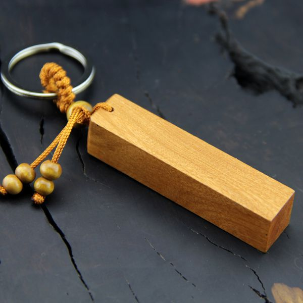 Diy Wood key chain women men car key ring lucky keychain rectangle Can be carved diy jewelry party gift key holder K1543
